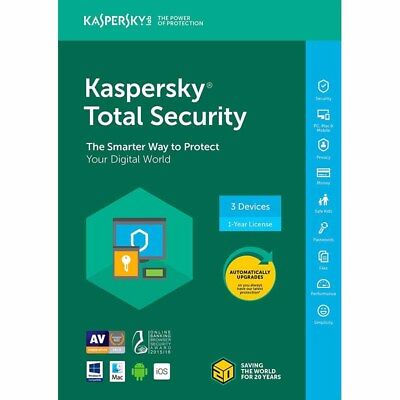 Kaspersky Total Security 2018   3 Devices   Pcs   1 Year   Same Day Delivery