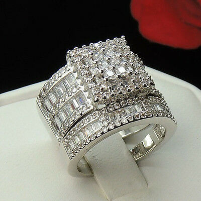 Gorgeous Women Fashion 925 Silver White Topaz Gem Ring Set Wedding Bridal6-10 Bridal Ring Set Gems