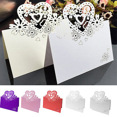 50 PCS LOVE HEART WEDDING RECEPTION SEATING TABLE PLACE - Reception Place Cards