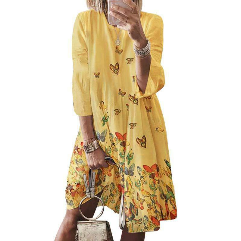 Women Boho Shirt Dresses Summer Holiday Casual Beach Tunic Sundress Plus Size Clothing, Shoes & Accessories