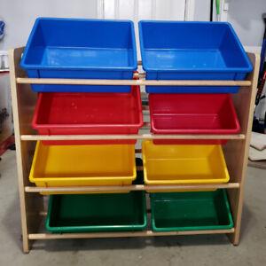 Toy storage Organizer Bins with 8 Colorful Plastic Bins