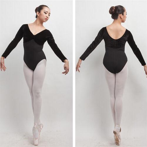 01823fb3f1b8 New adult Girl Long Sleeve Ballet Dance Dress V Neck Dance Training ...