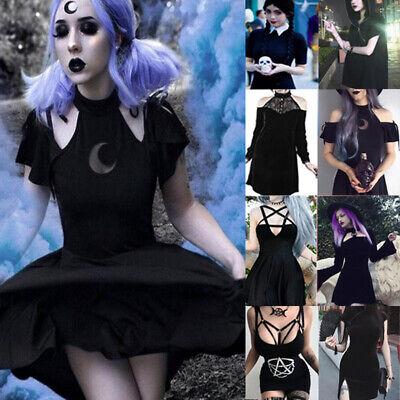 Mode Damen Kleid Gothic Punk Stil Cold Schwarz Cosplay Kostüm Straße Schlan - Mode Kostüm Schwarz