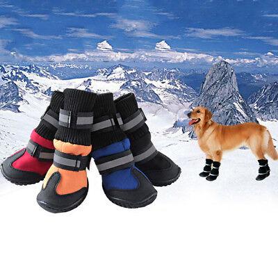 4 Stück Wasserfest Rutschhemmend Schuhe Haustier BLAU Neopren Hundestiefel XS-XL