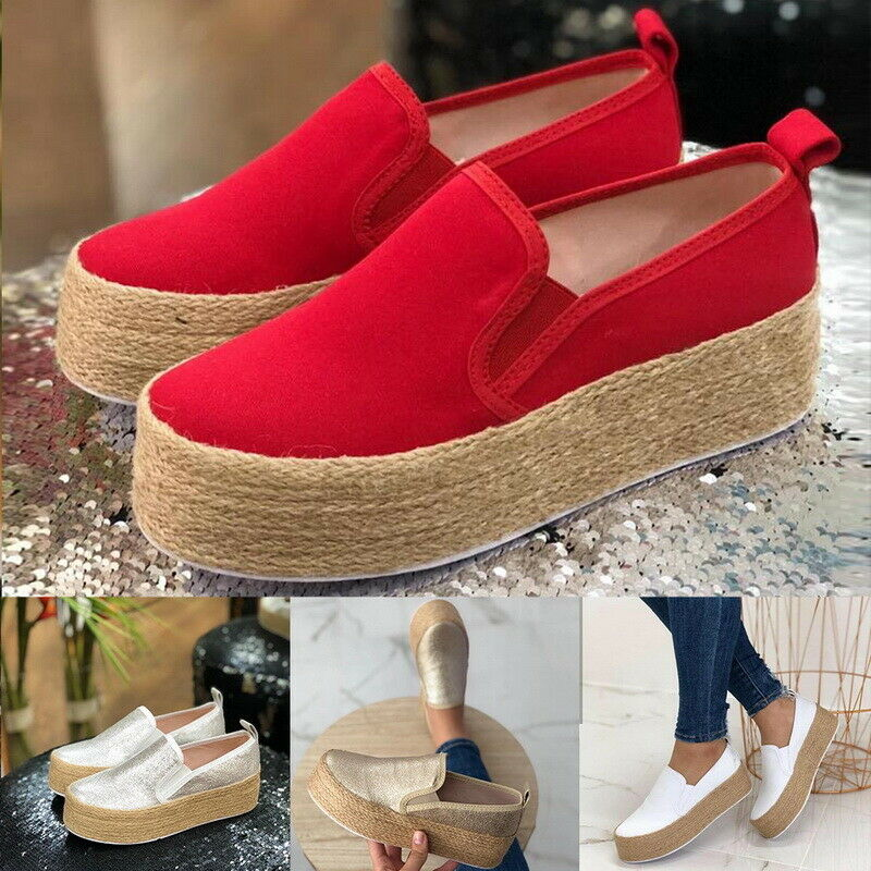Womens Casual Canvas Slip On Platform Trainers Sneaker Pumps Flats Loafers Shoes 5