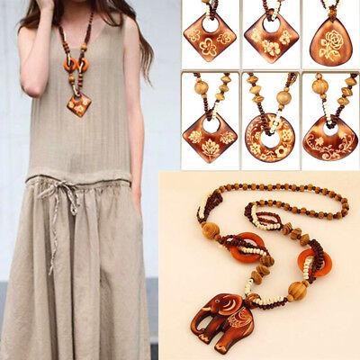 Fashion Boho Jewelry Necklace Wood Pendant Hand Made Bead Long Ethnic Style Fashion Pendant Bead Necklace
