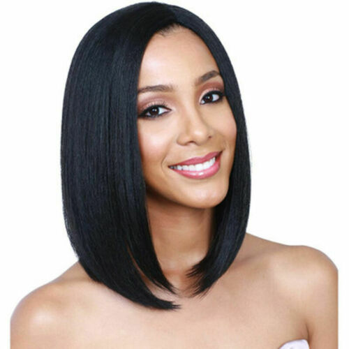 Frauen Damen Perücke kurz gerade schwarze Haare schwarz menschliches Echthaar DE