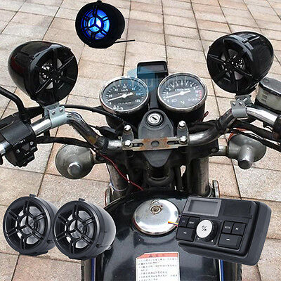 Bluetooth Motorcycle Handlebar Audio Amplifier Stereo Speaker System Mp3 Usb Sd