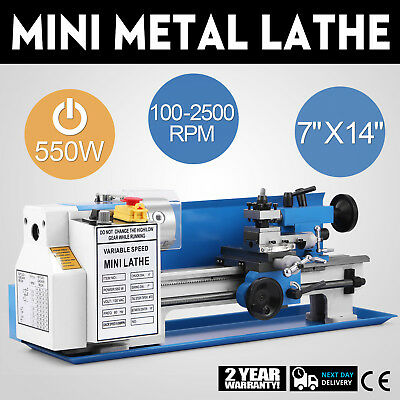 550w Precision Mini Metal Lathe Metalworking 7x14 Drilling Bench Top On Sale