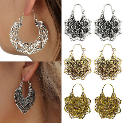 Boho Gypsy Tribal Ethnic Antique Drop Earrings for Women Mandala Flower - Tribal Flowers