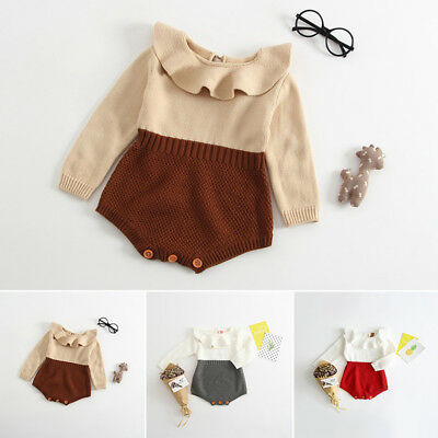 Infant Newborn Baby Girls Knit Jumpsuit Romper Bodysuit Cotton Clothes Outfits ()