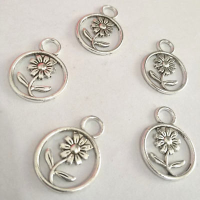 Flower Charm Silver Alloy Pendant Jewelry Finding Making Diy Accessories 15Pcs