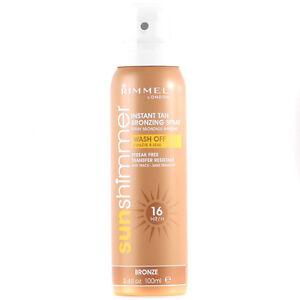 Brand New Rimmel Sunshimmer Instant Fake Tan Spray Bronze 100ml 16 Hour