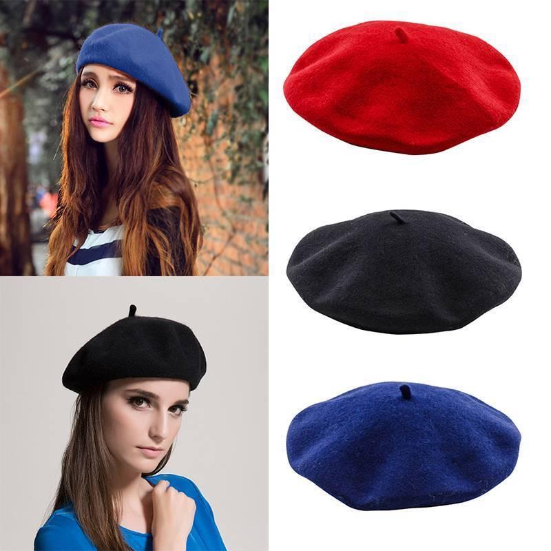 NEU Damenmütze Mütze Baske Baskenmütze Wollmütze Barett Beret Cap Franzosenmütze