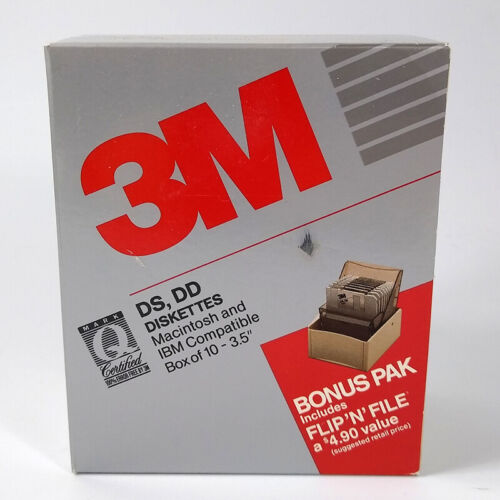 3M DIskettes Bonus Pack 8 Diskettes and Flip N File Box & Activities Disk