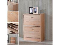 2 Drawers Shoe Storage Cabinet Cupboard Wooden Furniture Footwear Stand Rack