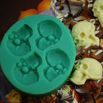 Skull Head Silicone Fondant Cake Decor Mould Chocolate Mold Halloween Party - Fondant Halloween Cakes