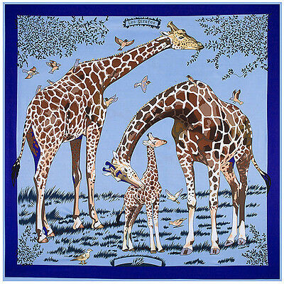 Women Fashion Shawl Scarf Giraffe Print Imitate Twill Silk Blanket Stole 51