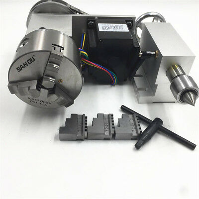 Rotary Axis 4th Axis 3 Jaw 100mm Lathe Chuck Nema34 Stepper Motor Tailstock-6