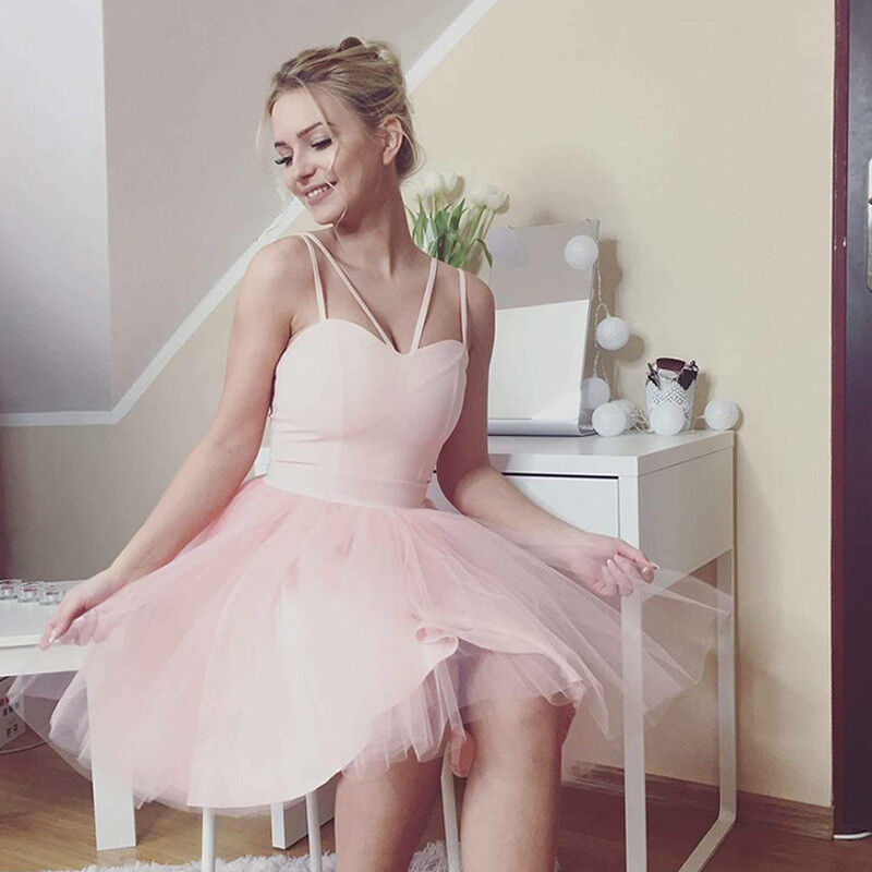 Women Formal Strappy Short Tulle Tutu Dress Wedding Evening Party Prom Cocktail