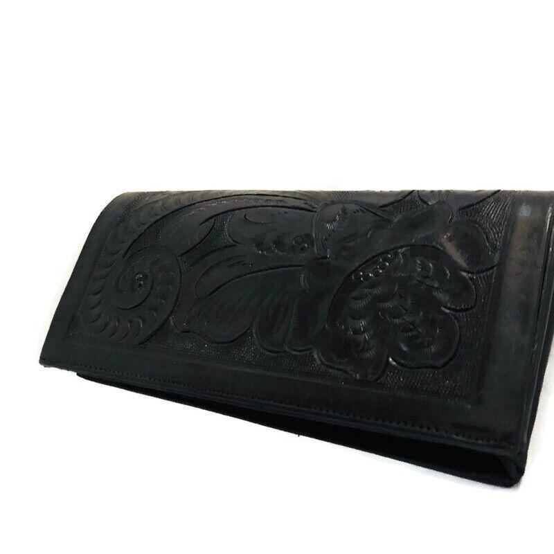VINTAGE Hand Tooled Leather Western Clutch Bag Saddle Purse Case Wallet Black