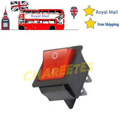 1X Rocker Switch 15A / 20A 240V Mains Red ON / OFF Double Pole 4 Pin DPST UK