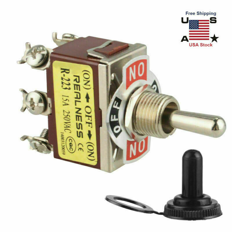 Heavy Duty DPDT 6Pin On/Off/On Momentary Toggle Switch Waterproof Boot+Cap US