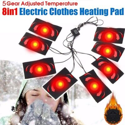 8-in-1 Electric Vest Heater Cloth Jacket USB Thermal Warm Body Warmer Heated -