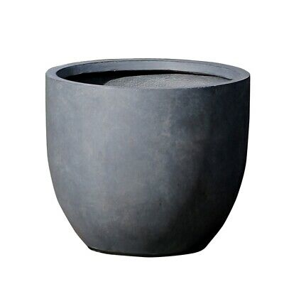 Luxen Home Round Stone Finish Planter (Large) Traditional Stone Planter