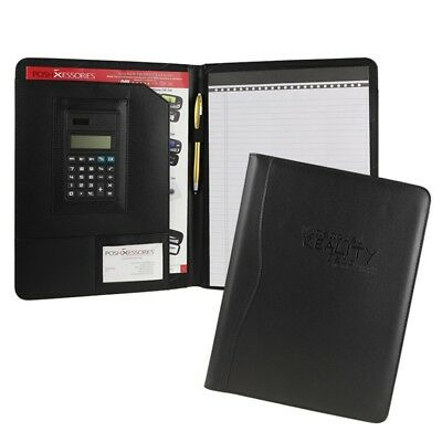 Black Business Leather Padfolio Portfolio Calculator Office Organizer Notebook