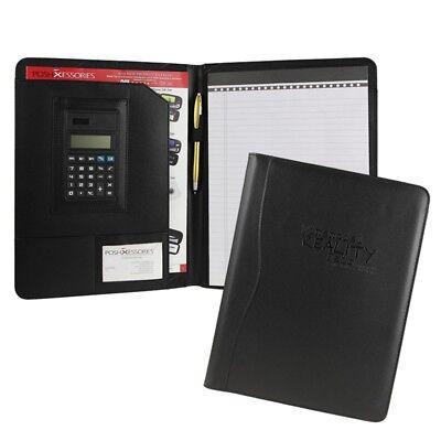 Leather Calculator Padfolio (Black Business Leather Padfolio Portfolio Calculator Organizer Folder Resume )