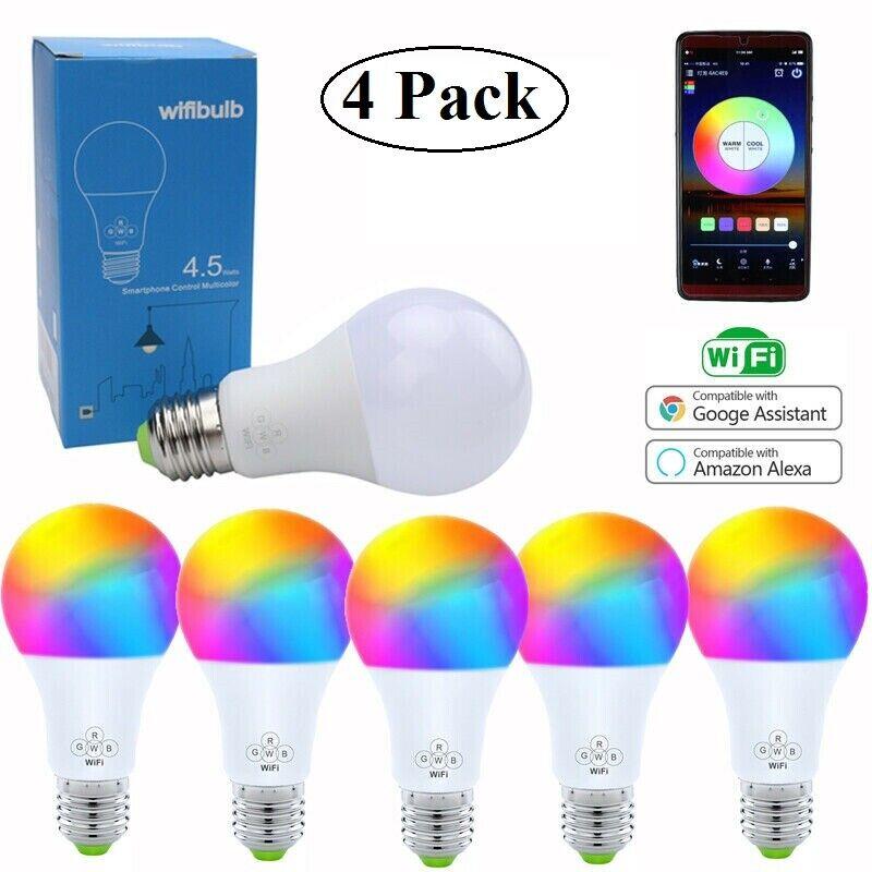 4 Pack Smart Phone Color Light Bulb WiFi for Amazon Alexa/Go