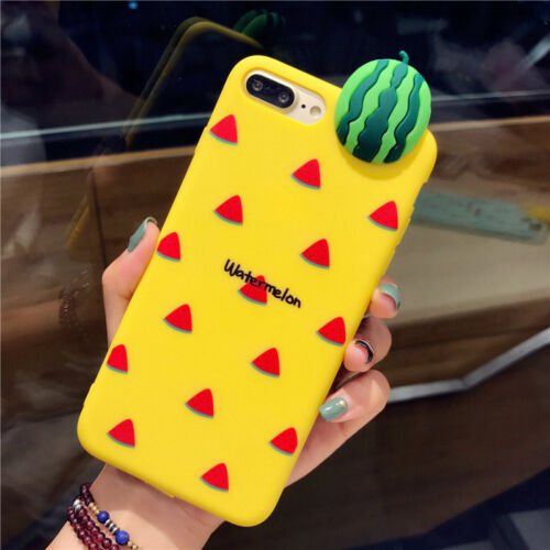 3D Cartoon Fruit Rubber Soft Silicone Phone Case Cover For iPhone X 8 7 6 S Plus