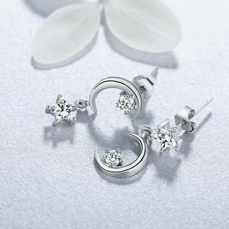 Details About Women Asymmetrical The Moon Stars Anti Allergy Ear Studs Earring World Qqq
