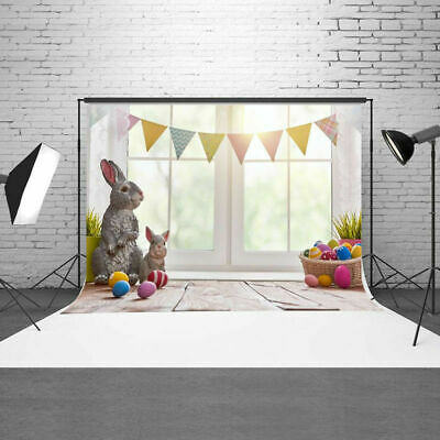 US 3x5ft Easter Photography Backdrops Bunny Eggs Baby Studio Photos Props - Easter Photography Backdrops