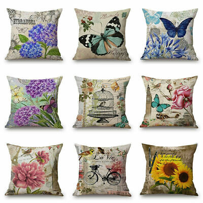 Vintage Colorful Butterfly Flower Decorative Cushion Cover Throw Pillow Case ()