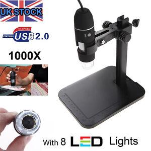 USB Microscope Endoscope 1000X 2MP 8LED Digital Magnifier Camera Black UK Sale