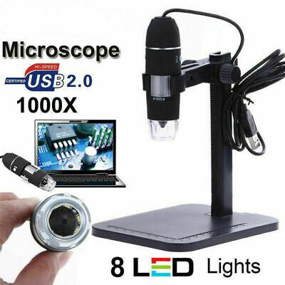 2mp Usb 1000x 8 Led Digital Microscope Endoscope Magnifier Cameralift Stand Hot