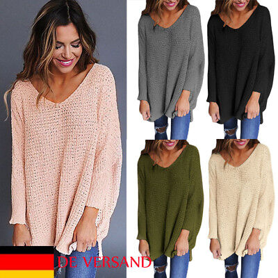 DE Damen Locker Tunika Casual Strick Mode Pullover V-Neck Winter Top Herbst NEU ()