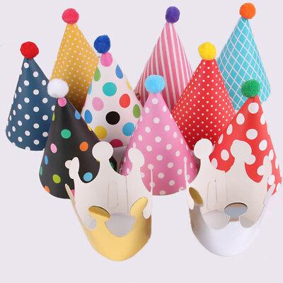 11pcs Crown Hats Paper Cone Happy Birthday Caps Set Cute Kids Favor Party Decor