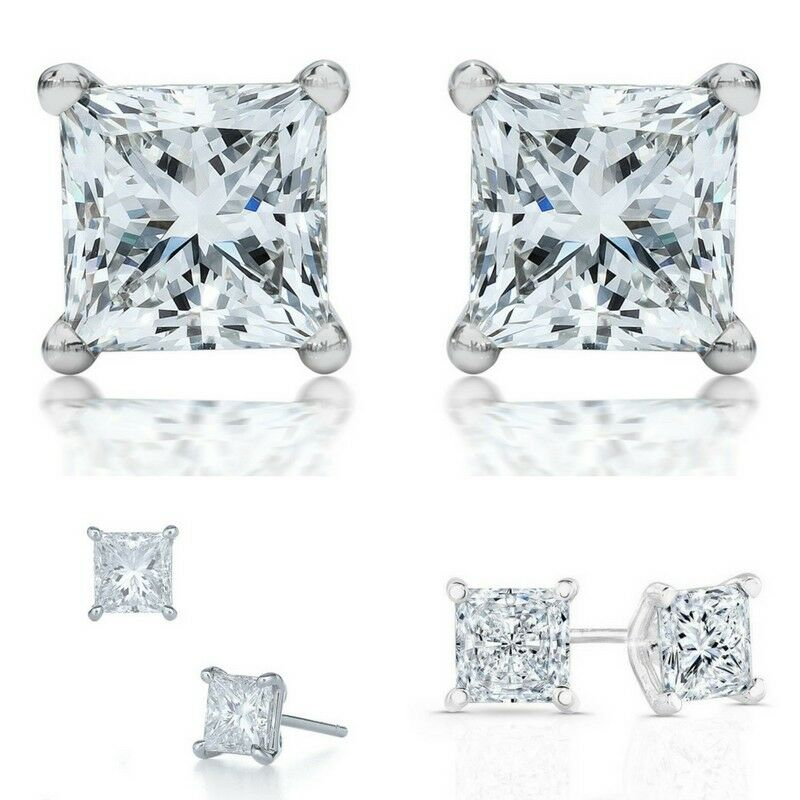 1.7 CT Princess Stud Diamond Earrings SI1/D 14K White Gold Engagement, Enhanced