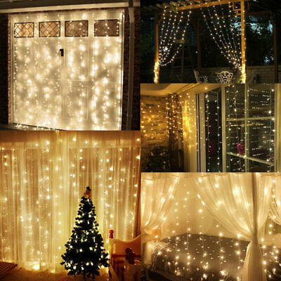 6M 600 LED Window Curtain Icicle String Fairy Light Outdoor Wedding Party Decor ()
