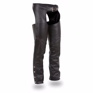 Roadkrome L, XL Women's Black Leather Chaps