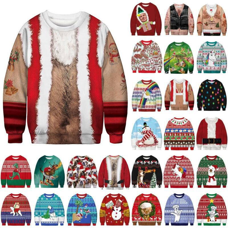 Unisex Ugly Christmas Sweater Sweatshirt President Xmas Pull