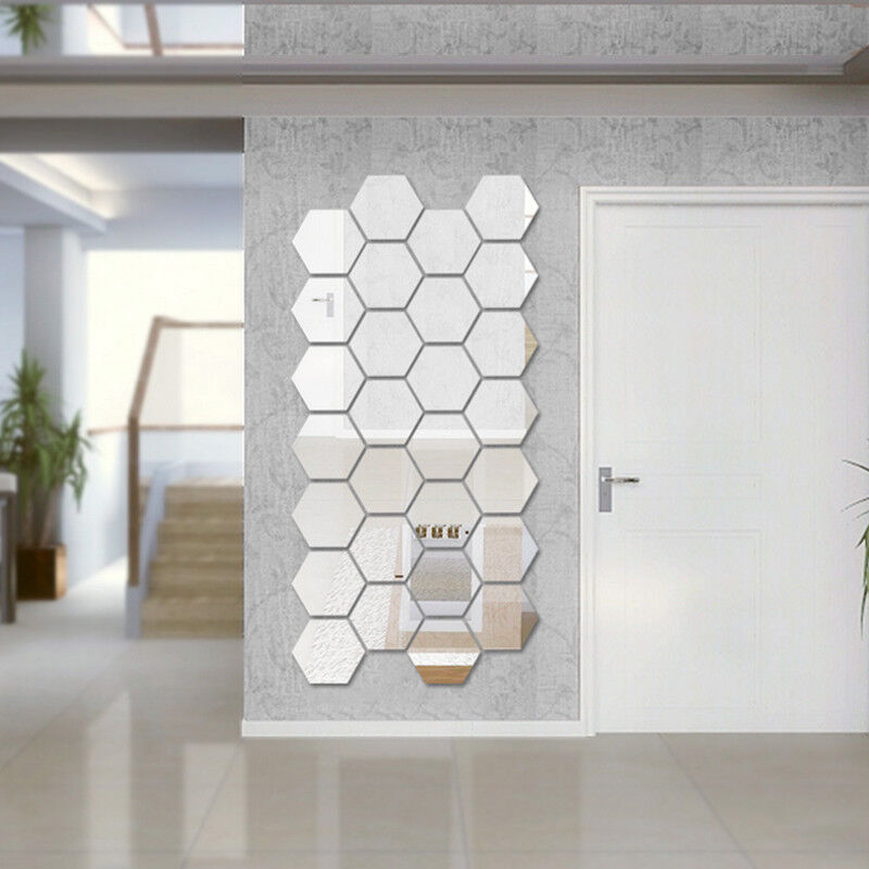 Home Decoration - 12Pcs Mirror Hexagon Removable Acrylic Wall Stickers Art DIY Home Decor Sple