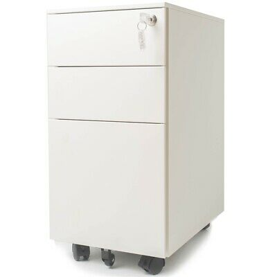 Pemberly Row 3 Drawer Slim File Cabinet With Lock In White