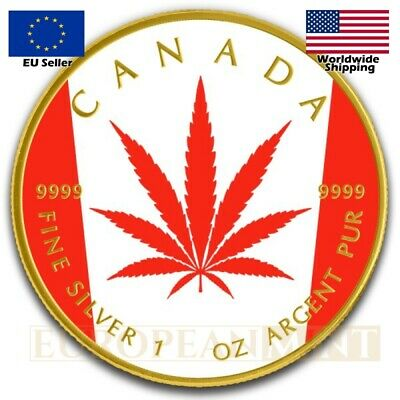 2018 1 oz $5 CAD Canadian Silver Maple Legalized Cannabis Leaf Flag BOX & COA