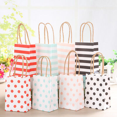 20Pcs Small Striped Kraft Paper Gift Bag With Recyclable Handle Loot Bags - Small Paper Bags