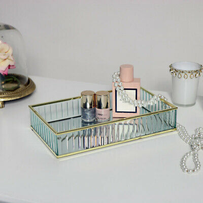 Gold mirrored glass trinket display tray display vintage chic gift home decor