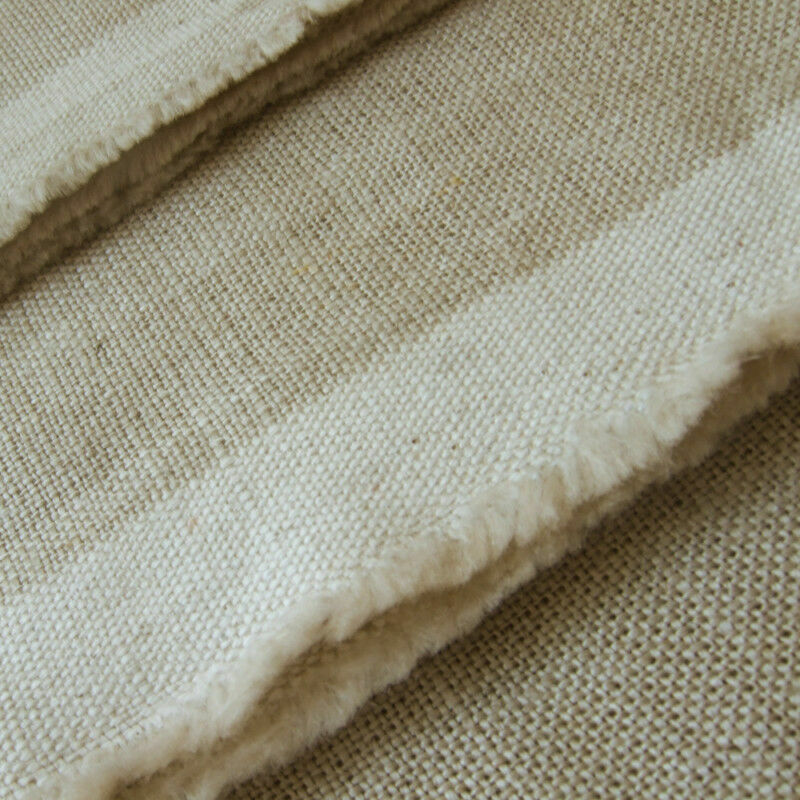 "ECO HEAVY LINEN VINTAGE NATURAL UNBLEACHED ORGANIC FLAX CURTAIN UPHOLSTERY 58""W"